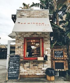 Red Window Coffee, Studio City, California Thanks to for the photo! Small Coffee Shop, Coffee Store, Coffee Shop Design, Coffee Cafe, Coffee Shop Names, Kiosk Design, Cafe Design, Store Design, House Design