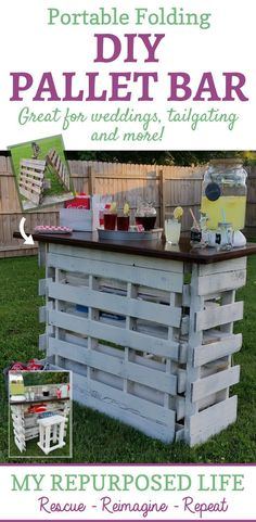 portable folding DIY pallet bar for weddings tailgating and more