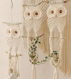 This large macrame wall plant hanger was handcrafted on a piece of driftwood found along the shores of Maine. Free Macrame Patterns, Macrame Wall Hanging Patterns, Macrame Hanging Planter, Macrame Plant Hangers, Macrame Supplies, Macrame Projects, Macrame Owl, Diy Jewelry Inspiration, Macrame Design