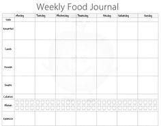 weekly food diary template printable