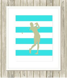 Golf, girl golfer, sports art for girls, soccer girl, girls room art, dorm poster, choose your colors and background pattern by PicabooArtStudio, $10.99
