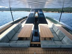 While moving, seating on the bow deck is stored. However, when the anchor is down a canopy and seating magically appear.