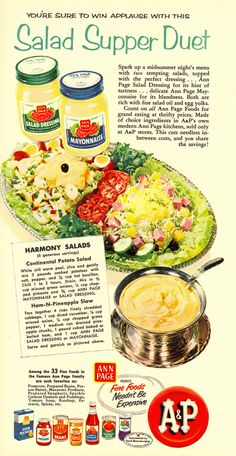 """Ann Page Continental Potato Salad + Ham-N-Pineapple Slaw Recipes from """"Woman's Day"""" 