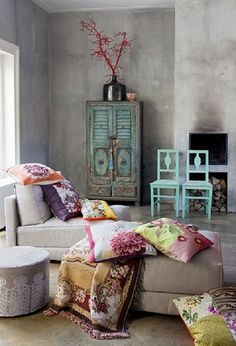 Home Decor: Grey Boho living or sitting room, with shabby chic style turquoise w. Home Decor: Grey Boho living or sitting room, with shabby chic style turquoise wood furniture and bright colored pillows & throw blankets Boho Chic Bedroom, Bedroom Decor, Bedroom Ideas, Boho Room, Floral Bedroom, Comfy Bedroom, Bedroom Curtains, Bedroom Bed, White Bedroom