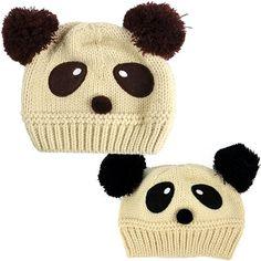 New Fashion Cute Panda Pattern Baby Love Dual Ball Toddler Girls/Boys Wool Knit Sweater Cap Hat