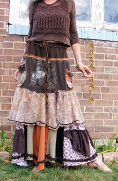 AuraGaia ~La Hobo ~ Bustleback Tattered Upcycled Poorgirl Skirt Fits XS-M; bustle in back; drawstring waisted; 2 pockets; long; layered; ruffled; patchy; raw-edged; tattered., bamboo & cotton jersey knits, gauze, semi-sheer poly print; solids & prints in paisley, florals & abstracts. browns, rust, tans, white.