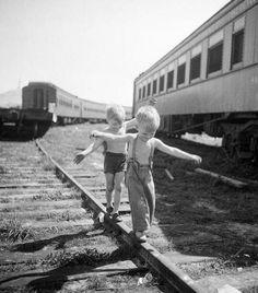 Boys playing on railroad tracks. NY, 1948.