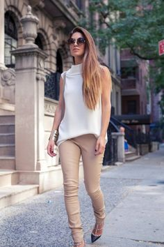Heels with skinnies !  Fab top if you've got decent arms.
