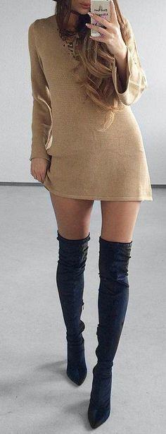Knit Dress // Knee Length Boots                                                                             Source
