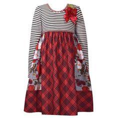 58c0b2e1652 Bonnie Jean Little Girls Red Plaid Stripe Ribbon Flower Christmas Dress  2T-6X Girls Christmas