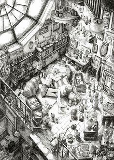 [Design / illustration] Mika Tian Mi ta u ぞ scene artwork! Croquis Architecture, Perspective Drawing, Environment Concept Art, Pencil Art, Moleskine, Manga Art, Cyberpunk, Art Inspo, Line Art