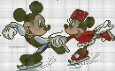 Mickey and Minnie on ice skates Cross Stitch Cards, Cross Stitching, Cross Stitch Embroidery, Mickey Mouse, Disney Cross Stitch Patterns, Stitch Cartoon, Disney Stitch, Crochet Diagram, Kids Patterns