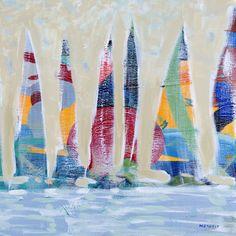 Dozen Colorful Boats Square II Canvas Art Print by Dan Meneely Sailboat Art, Sailboat Painting, Canvas Frame, Canvas Fabric, Canvas Wall Art, Canvas Size, Canvas Canvas, Canvas Art Prints, Fine Art Prints