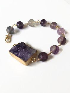 Rainbow Fluorite and Amethyst Druzy Bracelet Purple Beaded Bracelet Druzy Bracelet Purple Gemstone Bead Wire Chain Bracelet (WC28) by JulemiJewelry on Etsy https://www.etsy.com/listing/224560416/rainbow-fluorite-and-amethyst-druzy