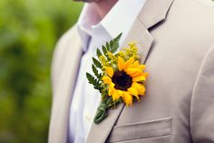 Sunflower boutonniere - Peconic, New York Wedding from Janelle Brooke Photography