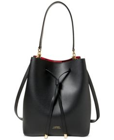 d5473b2ccba1 Lauren Ralph Lauren Dryden Debby Leather Drawstring - Black Red Cute  Handbags