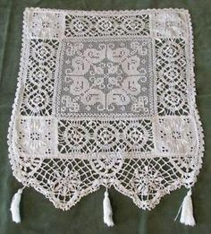 Antique Victorian Intricate Mixed Lace w Tassel SM Curtain or Antimacassar   eBay Vintageblessings