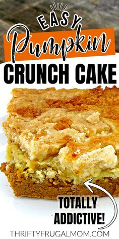 This easy Pumpkin Crunch Cake is one of the best fall desserts!  It has a rich pumpkin pie bottom, buttery crunchy cake topping and loads of pumpkin flavor.  Made with a few simple ingredients, this recipe is sure to be a crowdpleaser.  Perfect for Thanksgiving or anytime you need an indulgent dessert.  #thriftyfrugalmom #pumpkin #pumpkindessert #fromscratch #Thanksgiving #Pumpkincake #falldessert Pumpkin Spice Waffles, Pumpkin Crunch Cake, Pumpkin Cake Recipes, Cupcake Recipes, Dessert Recipes, Easy Homemade Recipes, Homemade Desserts, Easy Desserts, Delicious Desserts