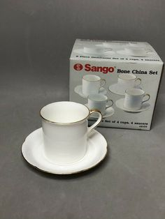 Set of 4 Sango 9102 Bone China Diana Demitasse/ Cappuccino White & Gold NIB #SANGO Tea Cup Set, China Sets, Bone China, Diana, White Gold, Classy, Elegant, Tableware, Beautiful