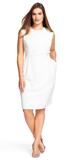 Adrianna Papell Plus Size pleated sheath dress | This timeless and elegant dress is the perfect addition to your wardrobe, taking you from desk to dinner effortlessly.