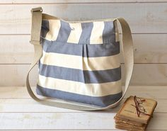 STOCKHOLM Gray and Ecru Diaper bag by ikabags on Etsy, $63.00