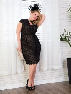 The fabulous plus size pinup  model, Elly Mayday for lucyclothing.ca in the plus size Lace-and-a-Dream Dress.