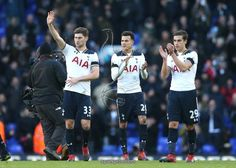 LONDON, ENGLAND - JANUARY 14: Ben Davies of Tottenham Hotspur (L) , Dele Alli of Tottenham Hotspur (C) and Harry Winks of Tottenham Hotspur (R) shows appreciation to the fans after the Premier League match between Tottenham Hotspur and West