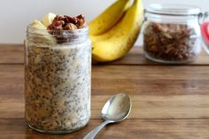 Throw these easy banana bread oats together tonight and have a satisfying breakfast ready in the morning. @pinterest