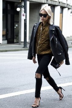 The Haute Pursuit. Silk bomber, leather jacket. Skinny jeans.