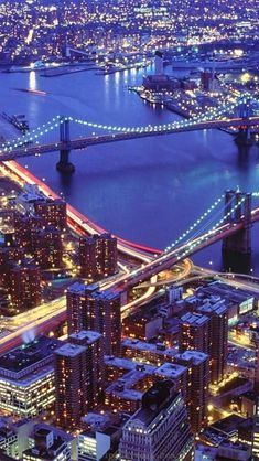 New York - A typical picture of New York the night with illuminated bridges over the Hudson River.