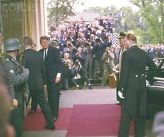 John F. Kennedy visits the Federal Republic of Germany in 1963 US President John F. Kennedy enters Palais  Schaumburg  in Bonn during his visit in Germany in June 1963.  Date Photographed:June 24, 1963.❤❀❤❀❤❀❤  http://en.wikipedia.org/wiki/John_F._Kennedy