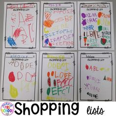 Make a list like this. How to set it up and add literacy and math opportunities to the grocery store in your preschool, pre-k, and kindergarten classroom. Preschool Writing, Preschool Curriculum, Preschool Classroom, Kindergarten Activities, Preschool Food, Preschool Ideas, Learning Activities, Teaching Themes, Preschool Learning