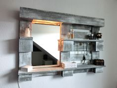 Wall shelves - Styling wall shelf with mirror and lighting - .- Wandregale – Stylingwandregal mit Spiegel und Beleuchtung – ein Designerstück v… Wall shelves – Styling wall shelf with mirror and lighting – a unique product by Paletino on DaWanda - Shelves, Diy Furniture, Wall Shelves, Room Diy, Home Decor, Diy Pallet Furniture, Cool Walls, Upcycled Home Decor, Mirror
