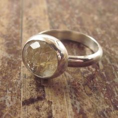 Handcrafted Sterling Silver and Rose Cut Golden Rutilated Quartz Ring, Size 7, Size 7 Ring