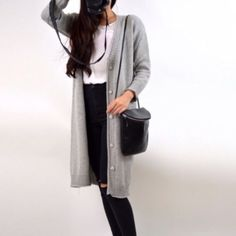 """SALE gray long sweater cardigan Brand new. This year's hottest trend-oversized long cardigan. The pockets are still sealed. Please click off the buttons but don't pull them especially with lots of strength. Size OS fitsXS-M. Length 38.5"""" sleeve23 chest 39 Sweaters Cardigans"""