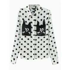 Vintage Polka Dot Shirt With Cat Pattern (750 UYU) ❤ liked on Polyvore featuring tops, cat print top, shirts & tops, cat shirt, vintage shirts and polka dot top