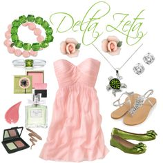 Because I still kick it DZ style (I wore pink and green the other day!)  -Delta Zeta, created by violetpretty on Polyvore
