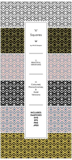 The 'x' Squares Pattern Set by RosemaryHMJS A simple yet striking geometric pattern set. Use them in your designs for a unique creative finish. Includes monochrome, coloured