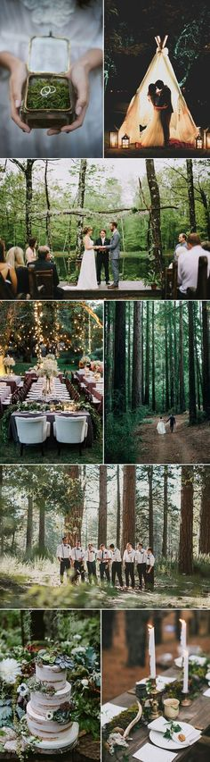"Celebrate the splendors of the outdoors with a wildly chic Forest Wedding. The rustic charms of an outdoor setting are undeniable. If you envision saying ""I Do"" with a backdrop of redwood trees and mo"