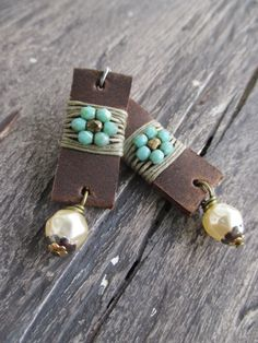Leather earrings Flower Child distressed leather by slashKnots