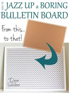 Add some spice to that old bulletin board with this easy DIY fabric-covered bulletin board tutorial! Just say no to boring cork! | decorbytheseashore.com