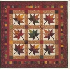 fall+quilts+patterns   Quilt Quilting Pattern Autumn Splendor Wall Hanging Twin Quilt Leaves ...