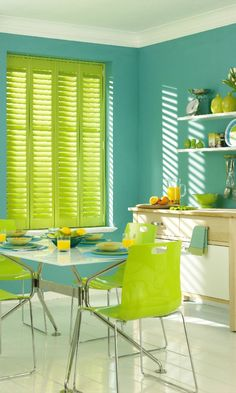 Be bold with bright shades of green and turquoise to create a eye-catching tropical look. Use the walls and furniture to make a statement, add small hints of wood to finish the look off. Perfect for kitchen and living rooms, made to measure Shutters in lime green would be a wonderful finishing touch.