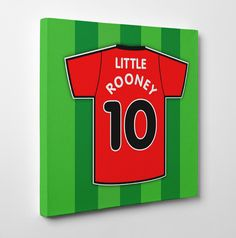 Little Rooney Canvas Artwork. This canvas artwork is absolutely ideal for fans of Manchester United or England or football fans in general. Children's canvas art prints look fantastic in kids bedrooms or nurseries. A great canvas gift for a budding Wayne Rooney.