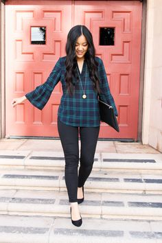 Holiday Office Outfit Green Navy Plaid & Black Pants