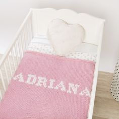 Baby pink blanket & cream name White Names, Big Beds, Pink Blanket, Dark Grey Color, White Box, Cozy Blankets, Baby Names, Baby Knitting, Cribs