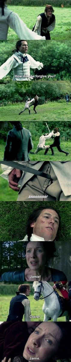 """""""How did she forgive you?"""" - Black Jack, Jamie and Claire #Outlander                                                                                                                                                      More"""
