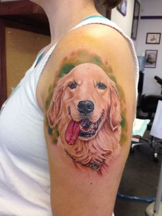 golden retriever tattoo color