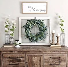 Loving this sideboard decor! The wreath and window are so unique! Sideboard Dekor, Credenza Decor, Dining Room Sideboard, Console, Rustic Sideboard, Farmhouse Buffet, Farmhouse Decor, Rustic Window Decor, Farmhouse Style