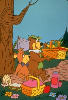Yogi Bear and Boo-Boo on a picnic